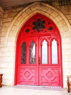 Red church doors...classic.