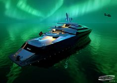 futuristic, Superyacht Iwana, future, watercraft, Alex McDiarmid, helicopter, luxury yacht, future, concept