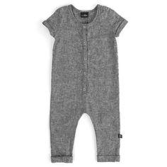 SHORT SLEEVE SNAP ROMPER VONBON BLACK CHAMBRAY ORGANIC COTTON ONESIE BABY INFANT GIFT ROLLED CUFF