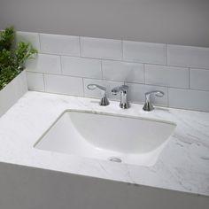 Kraus Elavo Large Rectangular Ceramic Undermount Bathroom Sink In White  With Overflow (White Ceramic Rectangular