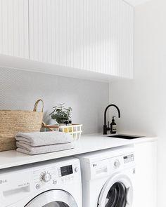 2 in Twelve Forever Home Bathrooms modern white laundry, matte black faucet, modern farmhouse laundry White Laundry Rooms, Modern Laundry Rooms, Laundry In Bathroom, Laundry Decor, Laundry Cupboard, Modern White Bathroom, Laundry Area, Laundry Closet, Laundry Basket
