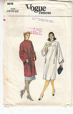 Dress Tunic Skirt Loose Fit Pullover A-Line Vogue Sew Pattern 8416 Uncut 18-22