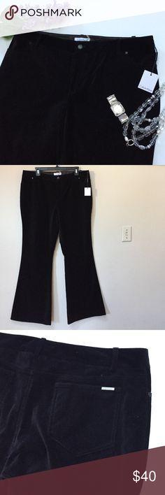 "NWT Calvin Klein velvet black pants NWT Calvin Klein velvet black pants. Size 14. Approximate measurements: length 43"", inseam 33"" and waist 19"" across when laid flat. Calvin Klein Pants"