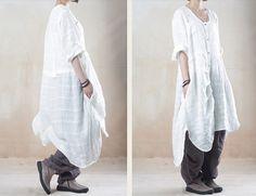 white linen shirt dress linen dress summer dress by customsize, $58.00