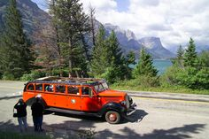 Red Bus, Glacier National Park, Montana (pinned by haw-creek.com)