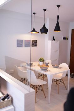 White design Small living : Eames chairs and Tom Dixon pendant lights for dining room Decor, Home, Home Kitchens, Dining Room Design, House Design, Interior, House Interior, Dining, Home Deco