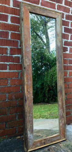 "Reclaimed wood full length mirror 53""x17"". $179.00, plus 80 shipping via Etsy."