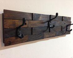 Rustic wall mount wood coat rack, entryway storage distressed coat hook rack, 3 hooks, wall towel rack