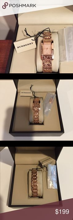 """Burberry Rose Gold Watch New Burberry Rose Gold Watch with signature plaid embossed on band. Hidden clasp. Curved face for comfort. Extra link and box included. Model BU1112  11892. Marked Burberry Established 1856 Swiss Made 30m/100feet. Band measures approximately 5/8"""" wide. Face is 1 1/2"""" long by 7/8"""" wide. Classic and elegant watch for rose gold lovers! Just listed! Burberry Accessories Watches"""