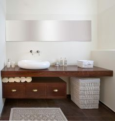 Floating vanity and Granite countertop contemporary bathroom: floating countertop Beautiful Bathroom Towel Display And Arrangement Bathroom Sink Decor, Bathroom Renos, Bathroom Styling, Bathroom Storage, Towel Storage, Small Bathroom, Apothecary Bathroom, Bathroom Pink, Bathroom Toilets