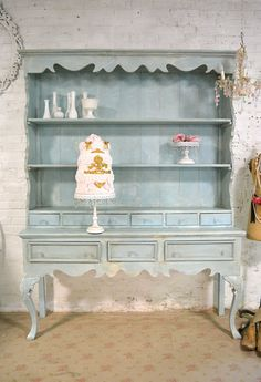 Painted Cottage Chic Shabby Farmhouse Hutch by paintedcottages