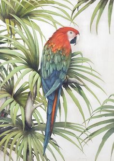 Parrot Painting by Brahaman Dhumsi Parrot Painting, Artist Painting, Watercolor Bird, Watercolor Paintings, Wall Painting Decor, Dragonfly Art, Arte Pop, Mural Art, Acrylic Painting Canvas