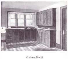 """Stained Kitchen Cabinets published in millwork catalog in1921 by the Morgan Woodwork Organization and called """"Building with Assurance."""""""