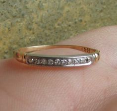 Two Tone Yellow and White Gold Diamond Art Deco Wedding Band by Ringtique on Etsy