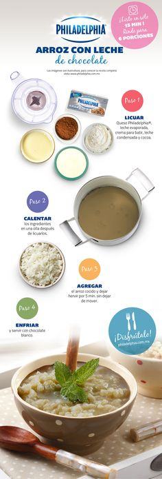 Arroz con leche de chocolate. Healthy Recipes, Sweet Recipes, Cooking Recipes, Mexican Dishes, Mexican Food Recipes, Good Food, Yummy Food, Food Humor, Desert Recipes