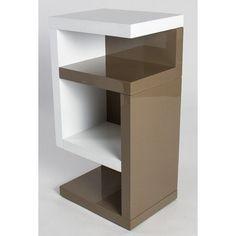 "HL Design 01-08-109.1 Boxspring-Nako ""Henry"", 40 x 28 x 69 cm, links Nako, Rollen verdeckt, weiß / taupe hochglanz"