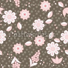 Nordic Floral Dream created by Katrin Kristjansdottir offered as a vector file on patterndesigns.com Vector Pattern, Pattern Design, Repeating Patterns, Vector File, Pattern Paper, Scandinavian Design, Surface Design, Earthy, Print Patterns
