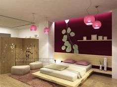 Modern Asian Home Bedroom Design ~ colour on back wall is stunning.