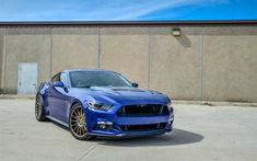 Download wallpapers Ford Mustang, 2017, blue sport coupes, tuning mustang, luxury rims, Ford