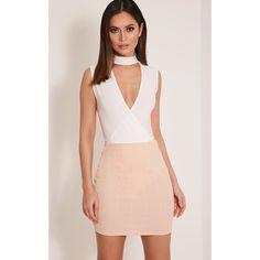 Sherrie Cream Choker Sleeveless Thong Bodysuit-6 ($22) ❤ liked on Polyvore featuring intimates, shapewear and white