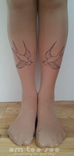 Vogel Tattoo Strumpfhosen Rockabilly Schwalben