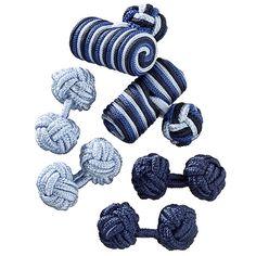 Blue Silk Knot Cufflink Curation