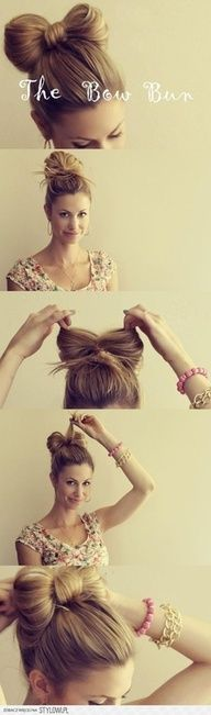Bow Hair Bun. I might be too old for this, but I think its super cute!