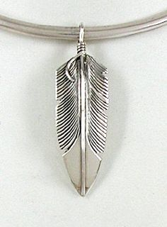 Authentic Navajo Sterling Silver Feather Pendant