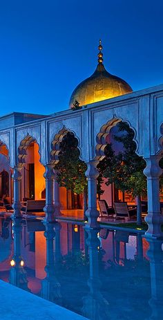 Hotel Palais Namaskar, Marrakech, Morocco, travel, blue and orange Oh The Places You'll Go, Places To Travel, Travel Destinations, Places To Visit, Morocco Travel, Africa Travel, Vietnam Travel, Islamic Architecture, Beautiful Architecture