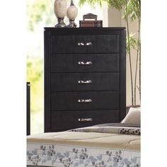 Coaster Company Dylan Black Veneer Chest (Chest), Size 5-drawer