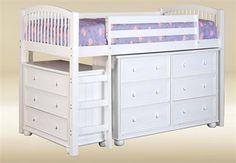Jasper White Twin Loft Bed w/ Dresser Chest