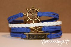 PERSISTENCEHandmade Bracelet Blue and White by ilovecheesygrits, $9.95