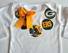 NFL Green Bay Packers Football Inspired Girls Fabric Applique Necklace Onesie - Made to Order - 0-3M through 24M. $18.00, via Etsy.
