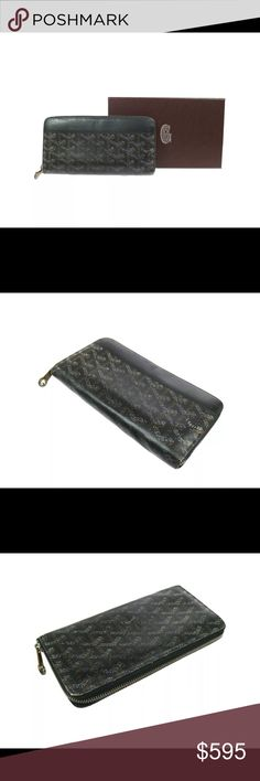 Goyard Long Zip Wallet Unisex This is a beautiful, classic staple for any collection!  Classic, authentic piece with lots of card slots and bill pockets.  Zippered coin pouch on the interior as well.  Good pre-owned condition with some wear overall.  Save big on this rare piece! Goyard Bags Wallets