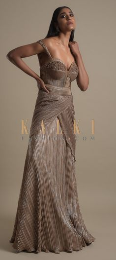 Gauhar Khan In Kalki Rhino Brown Gown In Pleated Shimmer Lycra Gauhar Khan, Indowestern Gowns, Bodice, Neckline, Wedding Function, Cowl, Bridal Gowns, Mermaid, Outfit Ideas