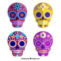 Colorful sugar skulls Free Vector
