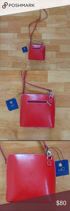 Giorgio Costa Red Calfskin Leather Crossbody Bag New with tags Giorgio Costa Red Calfskin Leather Crossbody Bag made in Italy. Brand new. Beautiful! Mint condition. Retails at $224! Giorgio Costa Bags Crossbody Bags
