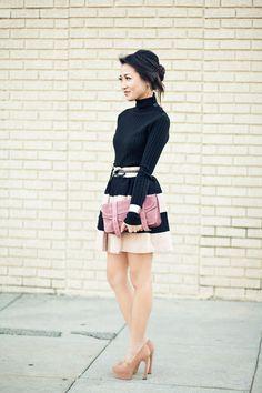 Pleats :: Panel skirt & Rose clutch : Wendy's Lookbook