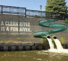Graffiti is a great form of street art, but legal issues tend to steer most businesses away from spray painting their brands across buildings. The Milwaukee River Keeper organization created a clever design that incorporates the waterway's spouts as art elements for a design that directly links the message with the physical surroundings