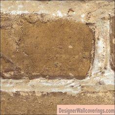 Brick Yellowish Brown Embossed vinyl faux stone Wall Paper