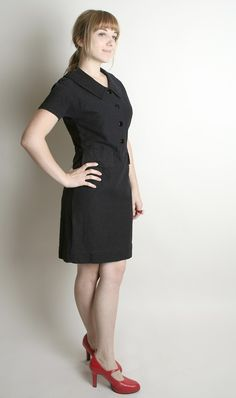 Vintage Wiggle Dress Black 1960s Noir Koret of by zwzzy on Etsy