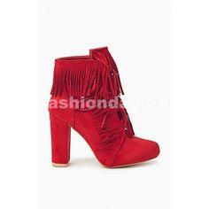 52ded7258b51 Prechodné dámske čižmy v červenej farbe na podpätku - fashionday.eu