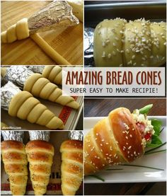 Bread Cones - Maybe shove some BBQ shredded chicken in there? Oh yeah.