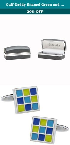 Cuff-Daddy Enamel Green and Blue Square Cufflinks. Here is a unique set of enamel cufflinks provided by Cuff-Daddy. Please know that the enamel is very resilient and will not chip or flake and is covered by Cuff-Daddy's product warranty. These ship in a gift box.