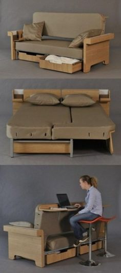 Multifunctional sofa is also a bed with a mini-desk with storage underneath. Isn't that a four-fer? | Tiny Homes