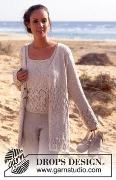 "DROPS - Free knitting patterns by DROPS Design DROPS - DROPS jacket and top with lace pattern in ""Saffron History of Knitting Yarn spinning, weaving and stitchin. Cardigan Pattern, Jacket Pattern, Top Pattern, Free Pattern, Knitting Designs, Knitting Patterns Free, Knit Patterns, Free Knitting, Drops Design"
