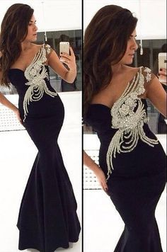 Sexy Black Mermaid 2015 Prom Dresses with Top Beaded Sequin Long Glorious Floor Length Evening Gowns
