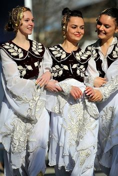 Beautiful Albanian girls wearing the traditional dresses