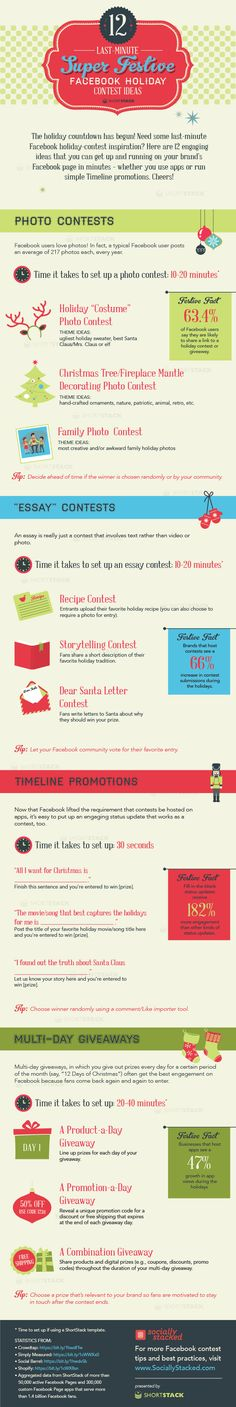 Need Facebook contest #ideas for the #holidays? Here 12 super-festive ideas for you – on a fun infographic! Each takes only 1 to 20 minutes, so set one up now. #facebook