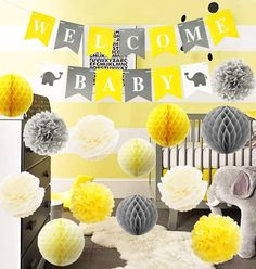Baby Shower Decorations Neutral, Baby Decor, Baby Shower Themes, Shower Ideas, Yellow Nursery Decor, Welcome Baby Banner, Baby Shower Yellow, Baby Banners, Elephant Baby Showers